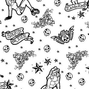 Roller Derby Tattoo Ditsy - Black & White