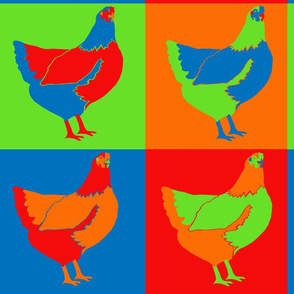 Traditional Pop Art Chickens
