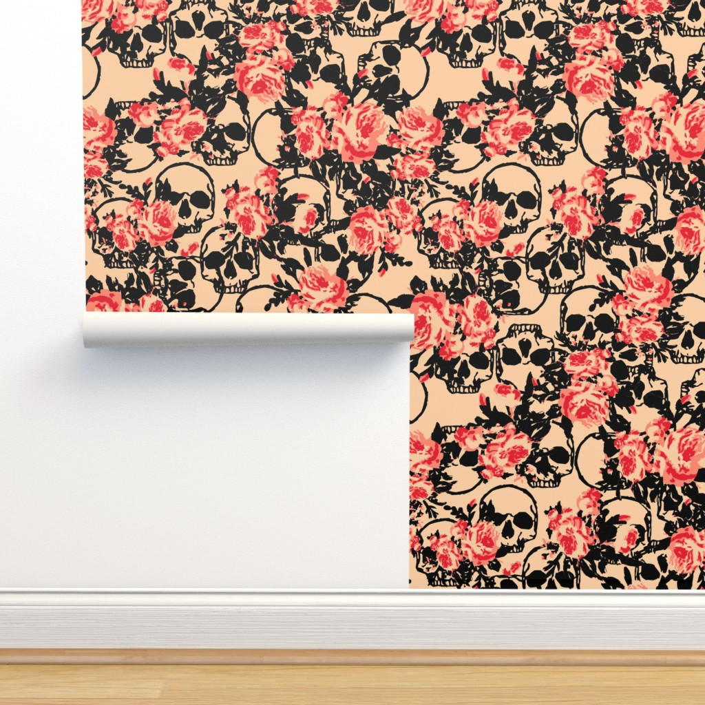 Skull Peach Coral Floral On Isobar By Jamiekoala Roostery Home