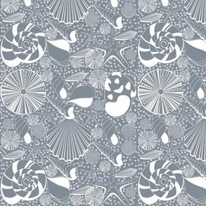 Seaside Shells in Gray