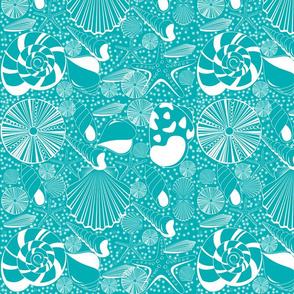 Seaside Shells in Turquoise