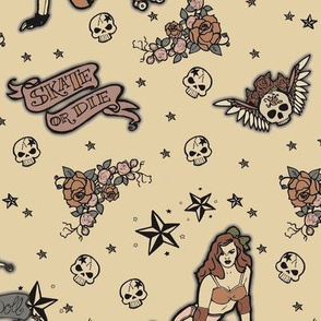 Roller Derby Tattoo Ditsy - Antique