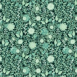 Night flowers, green floral pattern