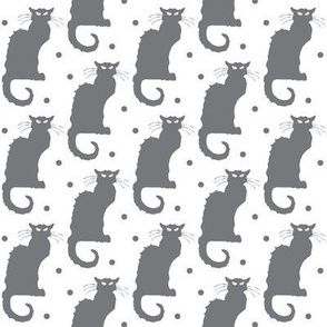 Le Chat Noir Grey Cat on Dotted White