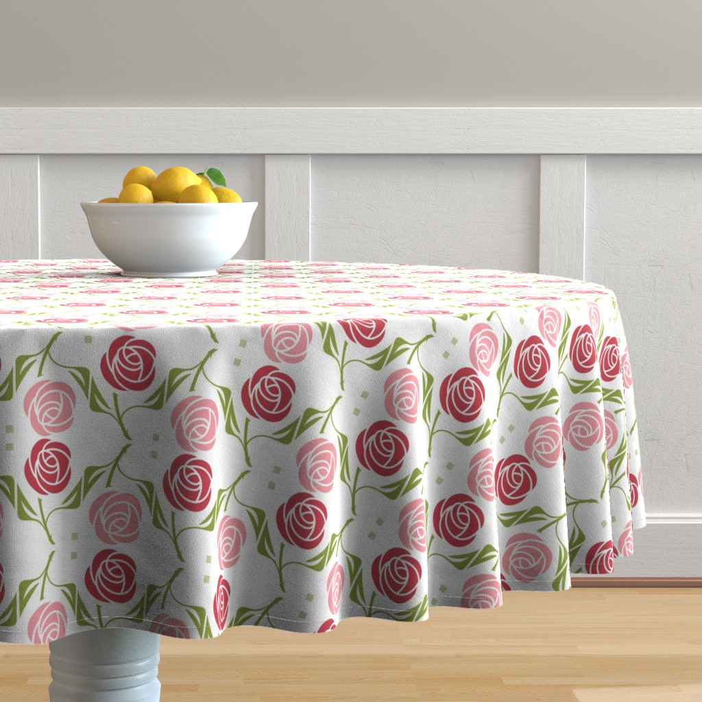 Malay Round Tablecloth featuring roses in red & pink by cindylindgren