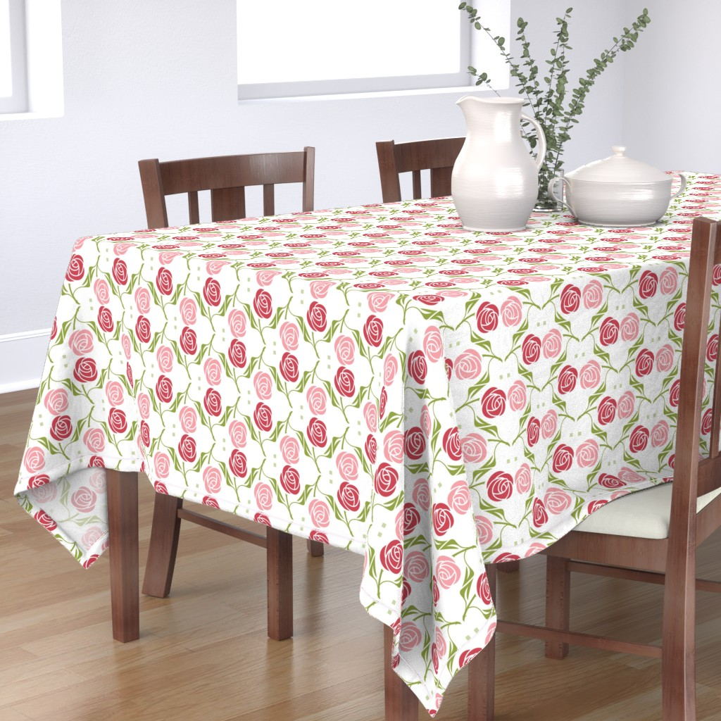 Bantam Rectangular Tablecloth featuring roses in red & pink by cindylindgren