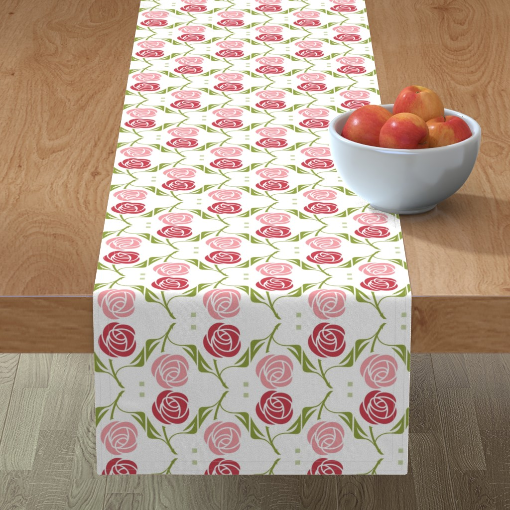 Minorca Table Runner featuring roses in red & pink by cindylindgren
