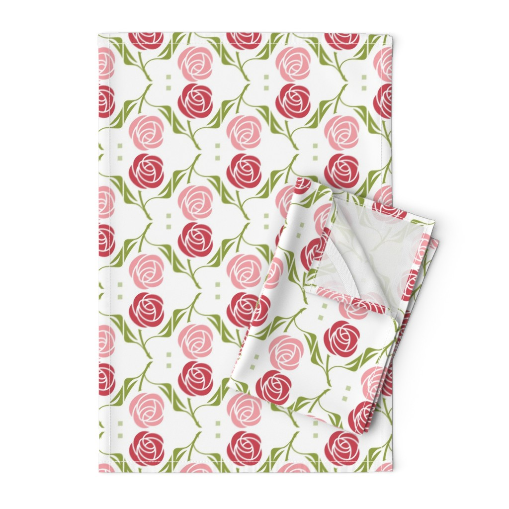 Orpington Tea Towels featuring roses in red & pink by cindylindgren