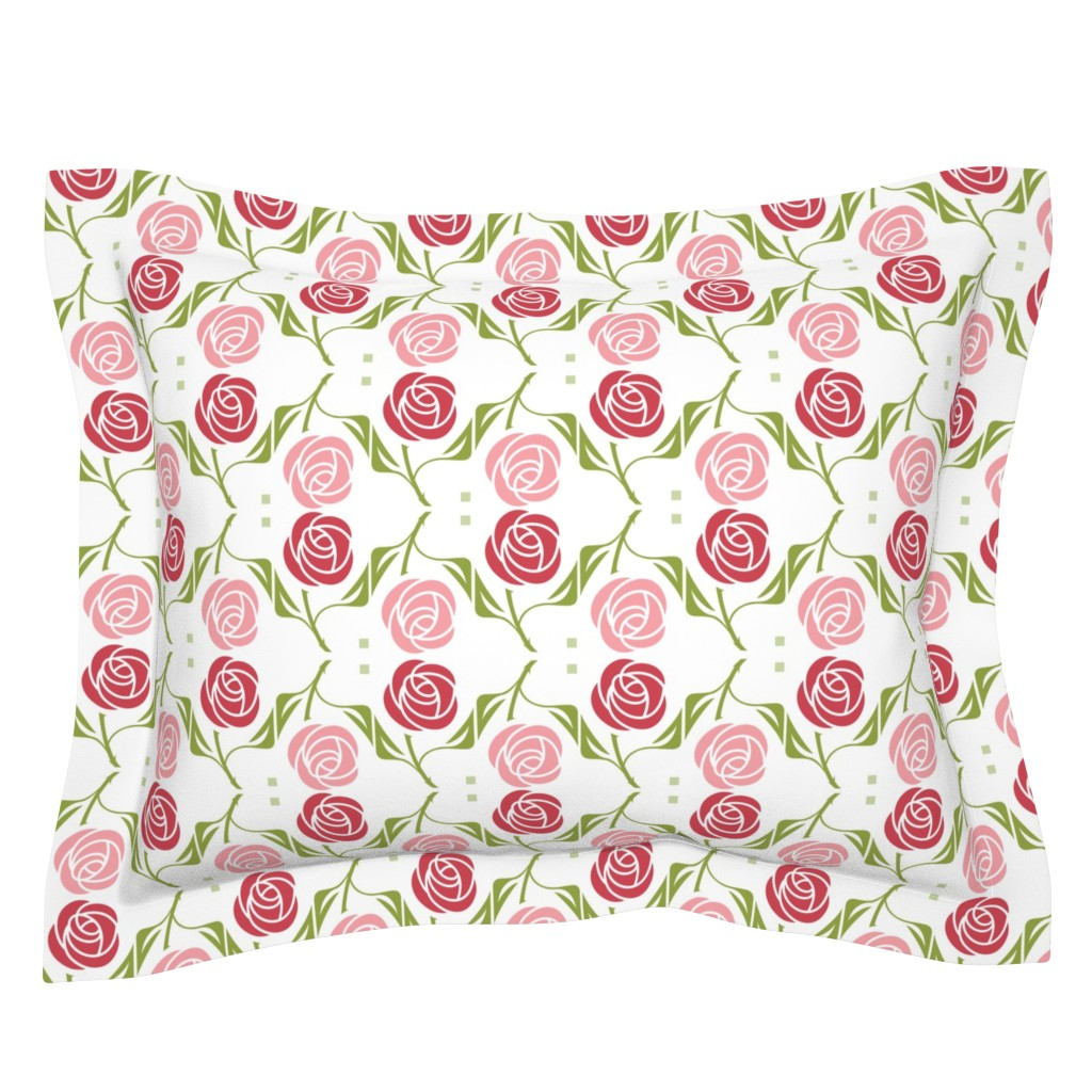 Sebright Pillow Sham featuring roses in red & pink by cindylindgren