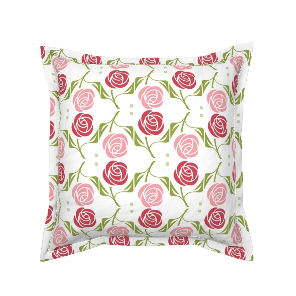 Serama Throw Pillow featuring roses in red & pink by cindylindgren