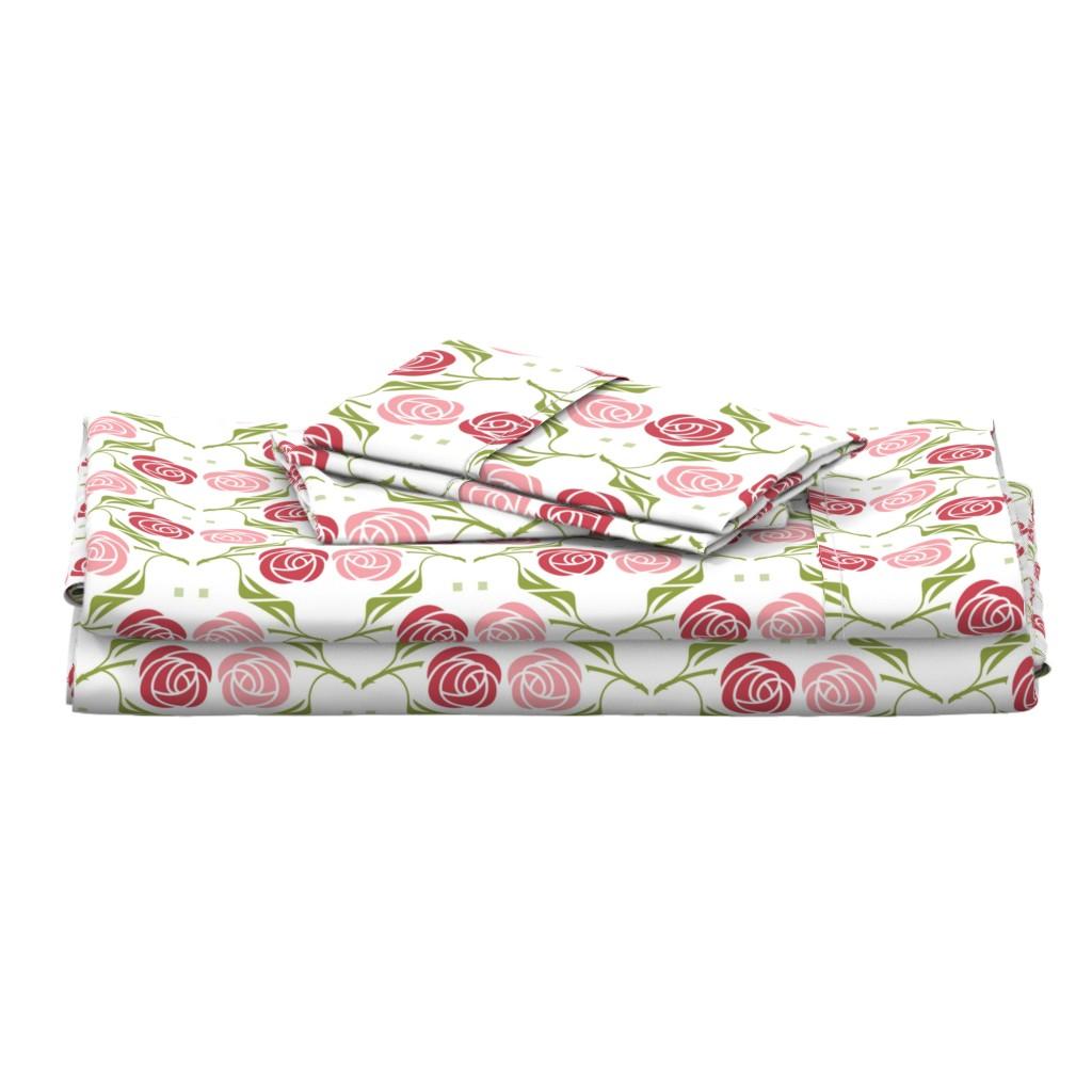 Langshan Full Bed Set featuring roses in red & pink by cindylindgren