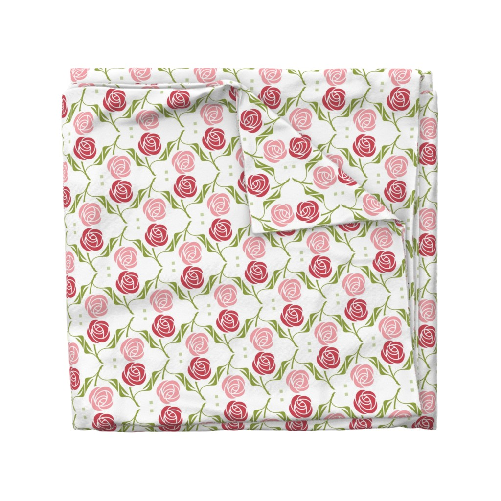 Wyandotte Duvet Cover featuring roses in red & pink by cindylindgren