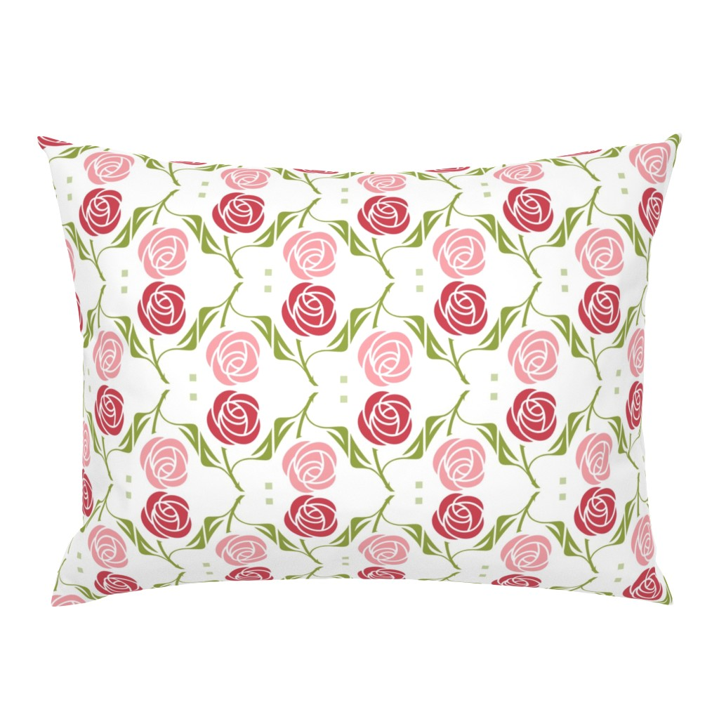 Campine Pillow Sham featuring roses in red & pink by cindylindgren