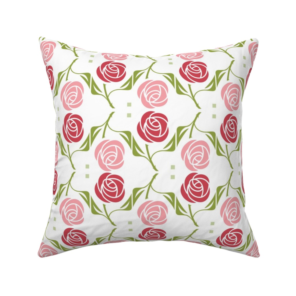 Catalan Throw Pillow featuring roses in red & pink by cindylindgren