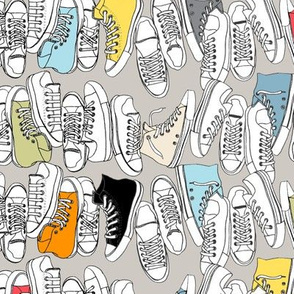 All-Stars (Gray) || sneakers tennis shoes fashion sports geek chic punk emo