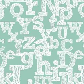 Sketched Alphabet on Teal