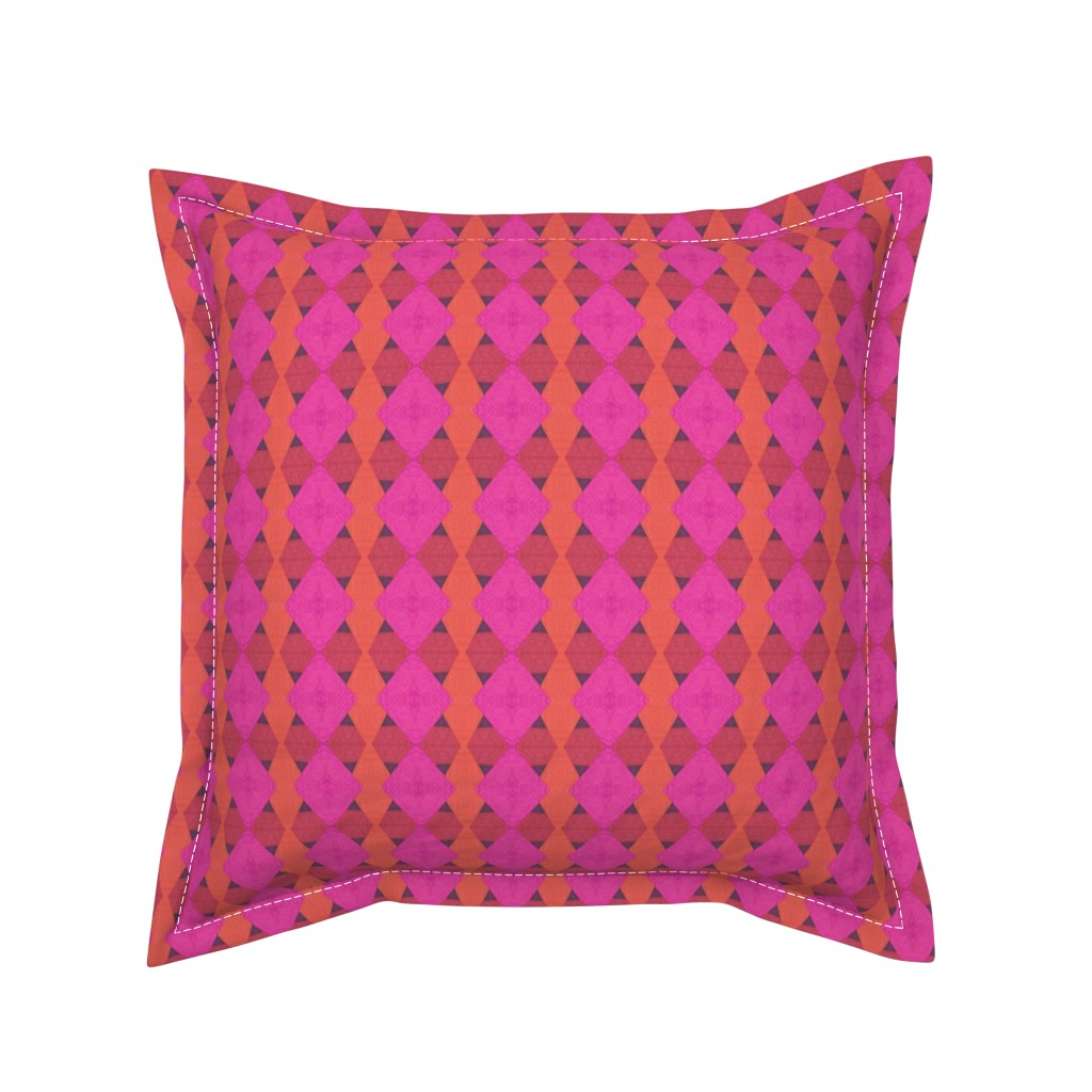 Serama Throw Pillow featuring Roses and Pyramids Abstract by careyruhl