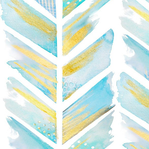 Watercolor Feather Chevron LARGE