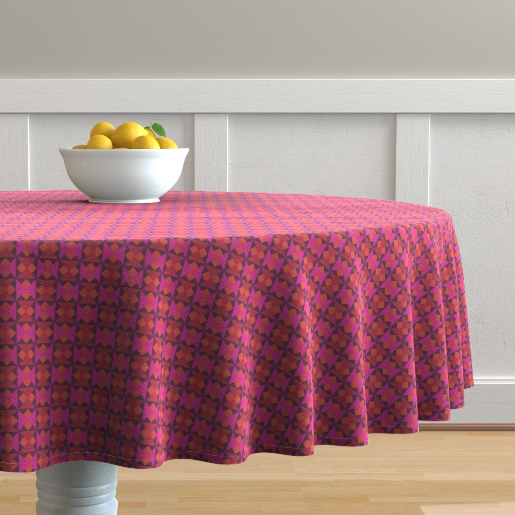 Malay Round Tablecloth featuring Tiny Pink Orange and Red Quilt Squares by careyruhl