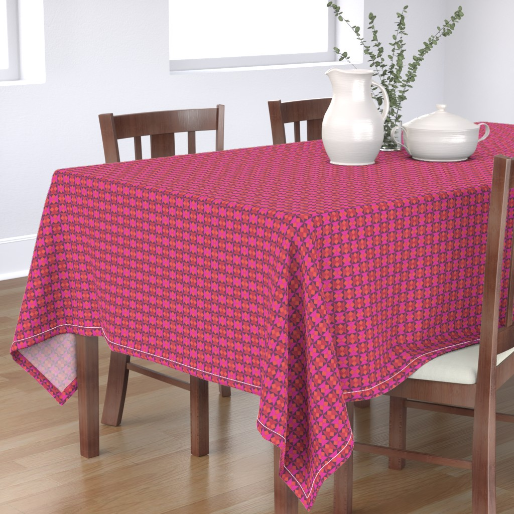 Bantam Rectangular Tablecloth featuring Tiny Pink Orange and Red Quilt Squares by careyruhl