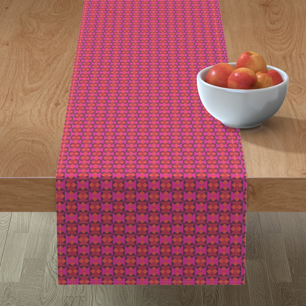 Minorca Table Runner featuring Tiny Pink Orange and Red Quilt Squares by careyruhl