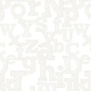 Sketched Alphabet in Light Grey