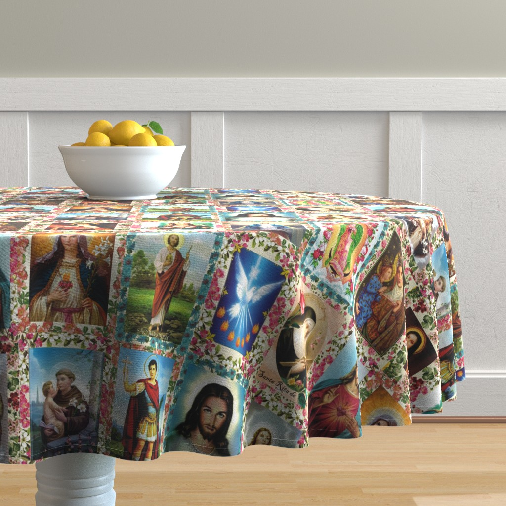 Malay Round Tablecloth featuring Catholic Saints and Images Collage by anette_teixeira