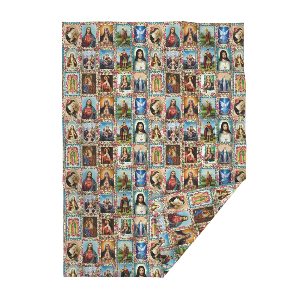 Lakenvelder Throw Blanket featuring Catholic Saints and Images Collage by anette_teixeira