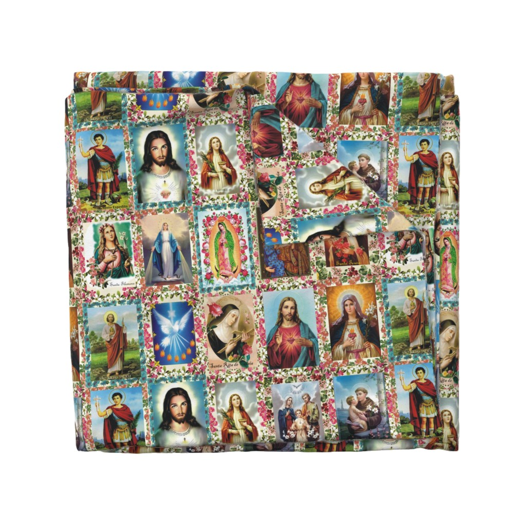 Wyandotte Duvet Cover featuring Catholic Saints and Images Collage by anette_teixeira