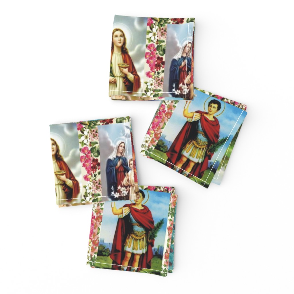 Frizzle Cocktail Napkins featuring Catholic Saints and Images Collage by anette_teixeira