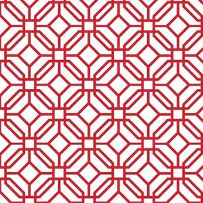 Octagon trellis - red on white