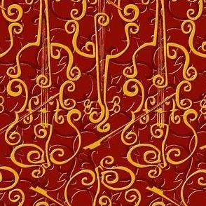 VIOLIN adante flourish red gold