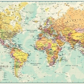 World Map Fabric
