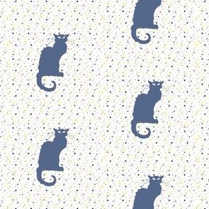Le Chat Noir in Slate Blue Cat on Dotted White