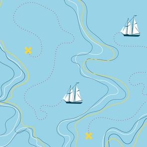 sailing for the treasure - blue