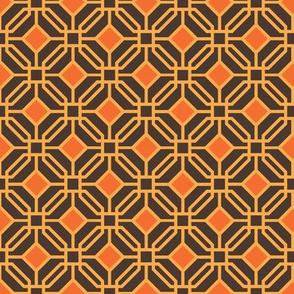Octagon trellis - amber and orange on brown
