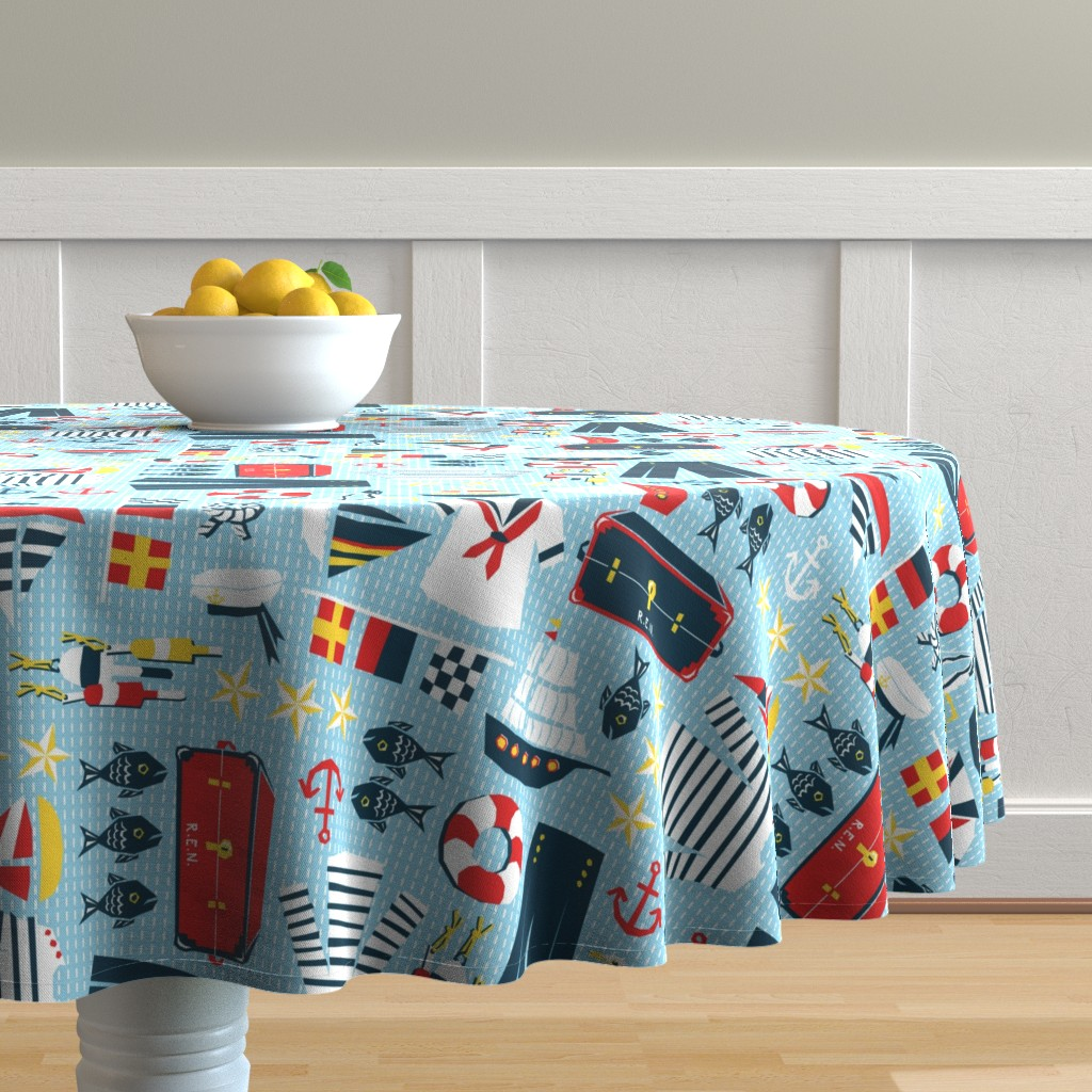 Malay Round Tablecloth featuring Mariner's Melody by sammyk