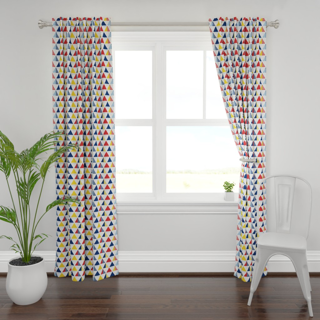 Plymouth Curtain Panel featuring GeometricSails by ariel_lark_designs