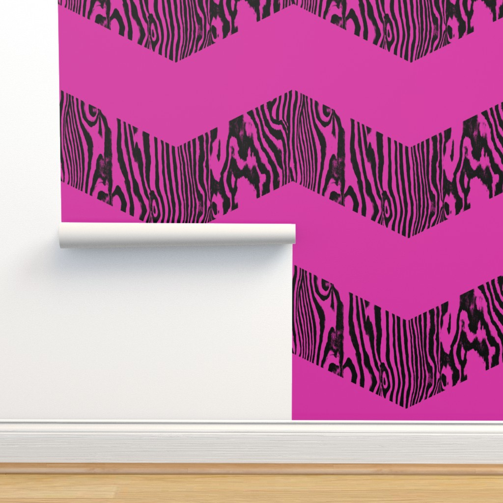 Chevron Safari Black And Magenta On Isobar By Peacoquettedesigns