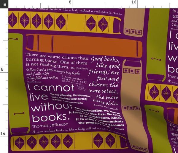 Stoff Meterware Buch Lila Bücher Bibliothek Schreiben Lesen Bibliothekar Zitate