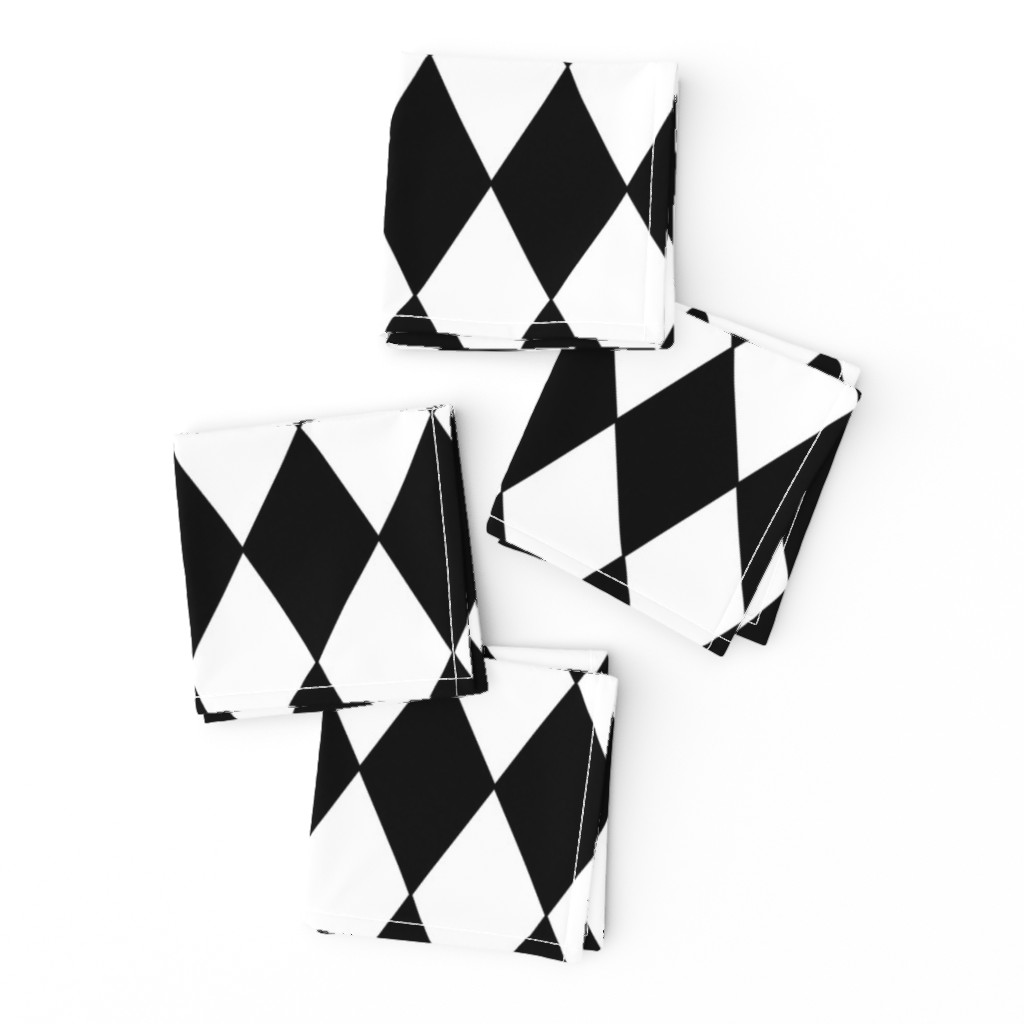 Frizzle Cocktail Napkins featuring Harlequin Diamonds ~ Black & White by peacoquettedesigns