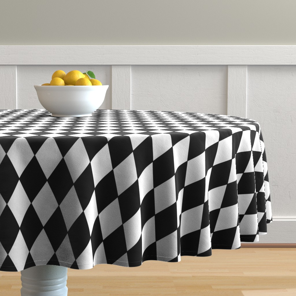 Malay Round Tablecloth featuring Harlequin Diamonds ~ Black & White by peacoquettedesigns