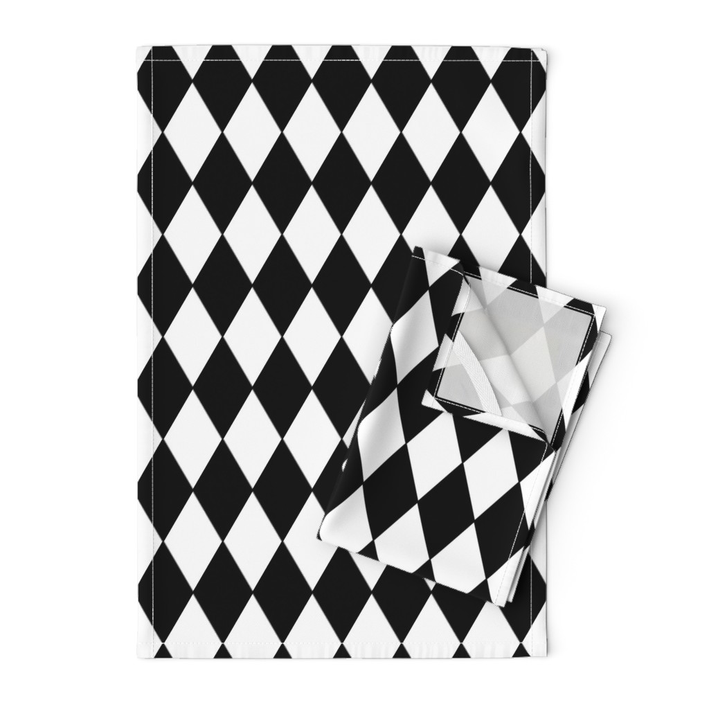Orpington Tea Towels featuring Harlequin Diamonds ~ Black & White by peacoquettedesigns
