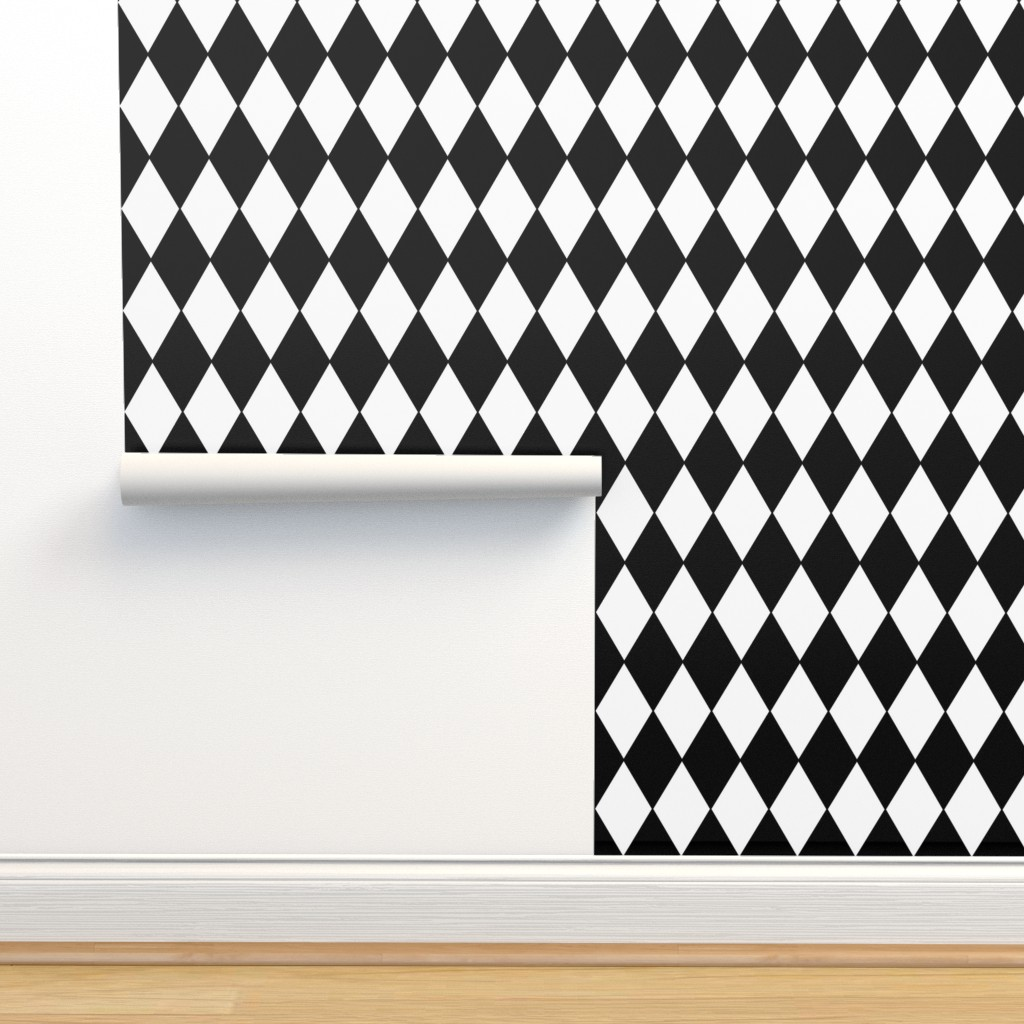 Isobar Durable Wallpaper featuring Harlequin Diamonds ~ Black & White by peacoquettedesigns