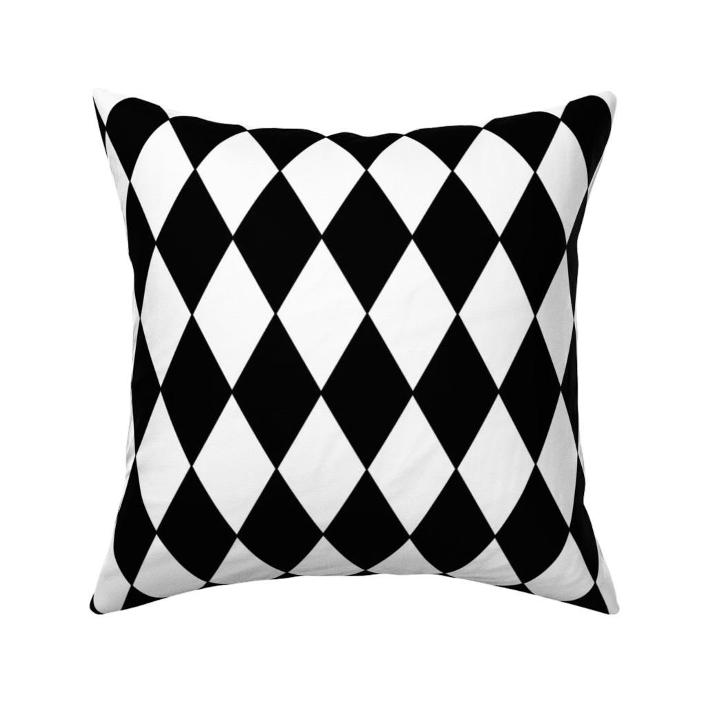 Catalan Throw Pillow featuring Harlequin Diamonds ~ Black & White by peacoquettedesigns