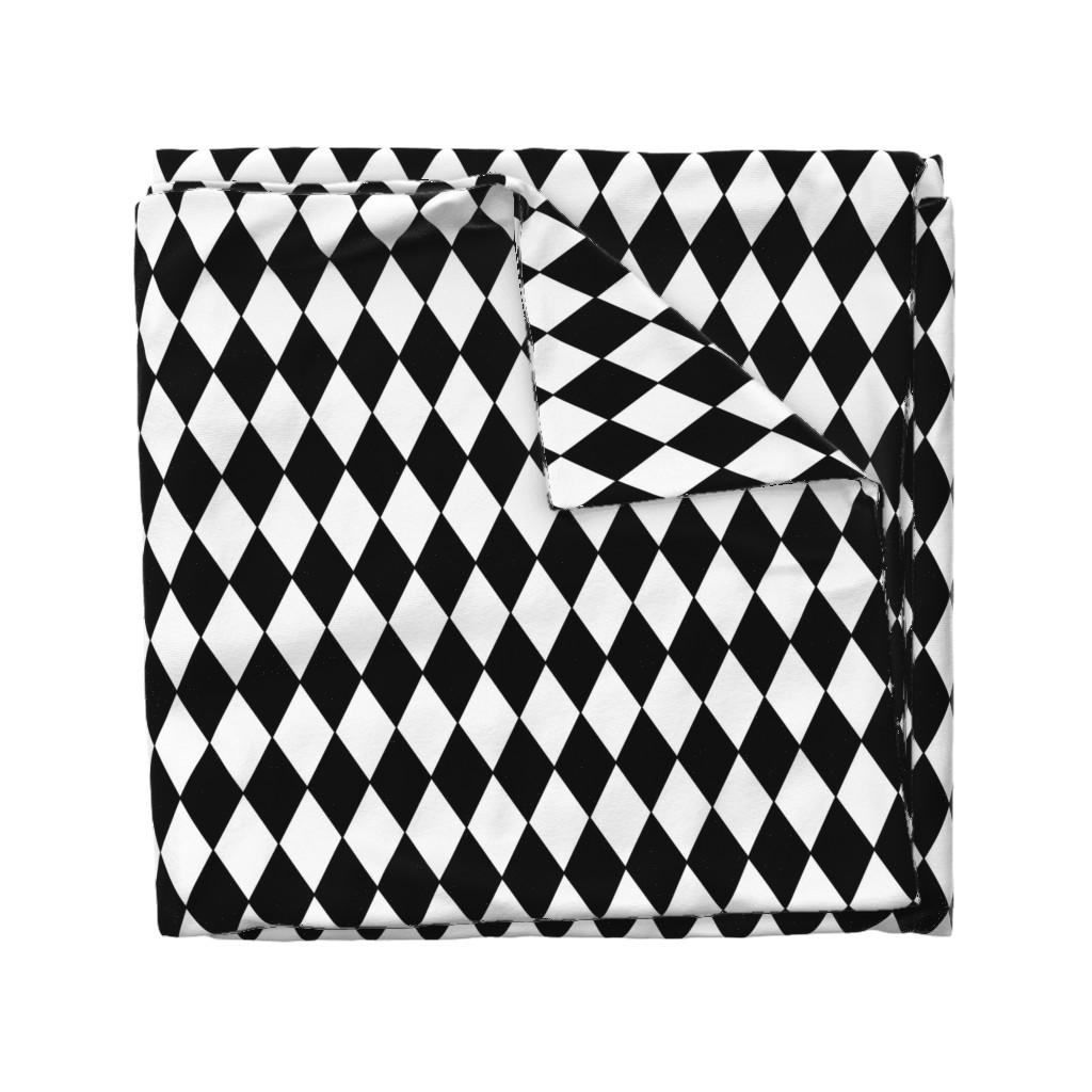 Wyandotte Duvet Cover featuring Harlequin Diamonds ~ Black & White by peacoquettedesigns