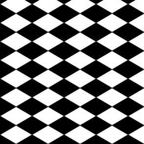Harlequin Diamonds ~ Black & White ~ Horizontal