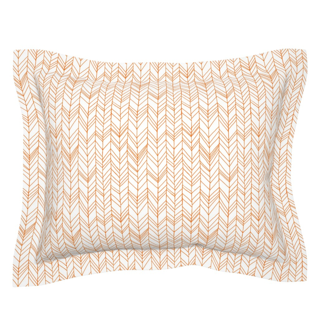 Sebright Pillow Sham featuring featherland white with orange by leanne