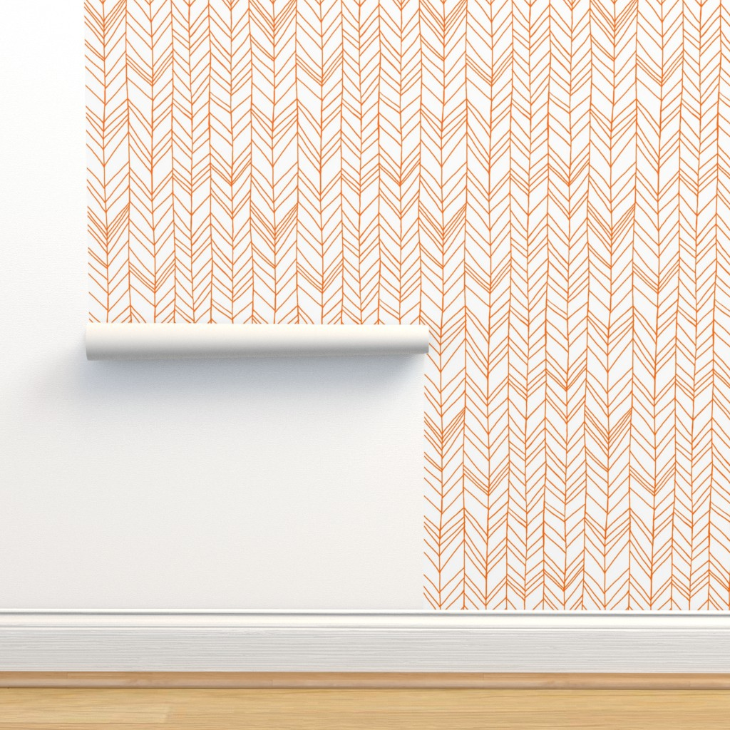 Isobar Durable Wallpaper featuring featherland white with orange by leanne