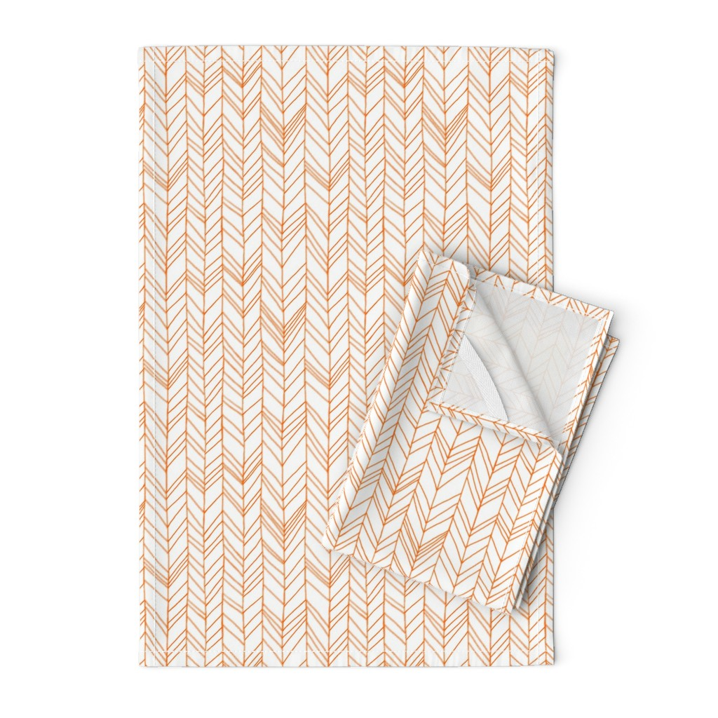 Orpington Tea Towels featuring featherland white with orange by leanne